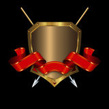 Gold shield with ribbon and spears. Royalty Free Stock Photos