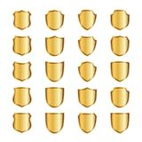 Gold shield shape icons set. 3D golden emblem signs isolated on white background. Symbol of security, power, protection. Badge shape shield graphic design Stock Photography