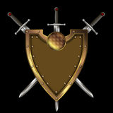 Gold shield and three swords. Royalty Free Stock Images