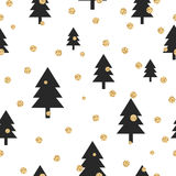 Gold shimmer glitter polka dot and black tree Stock Photo