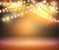 Gold Shine Garland. Greeting Background With Lights Stock Photos