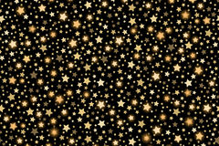 Gold shining falling stars seamless texture Royalty Free Stock Image
