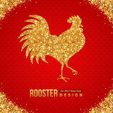 Gold Shining Rooster Silhouette on Red Background. Vector illustration. Happy 2017 Chinese New Year Stock Image
