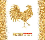 Gold Shining Rooster Silhouette Royalty Free Stock Image