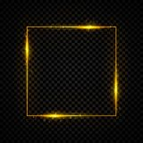 Gold shining square banner. Golden, sparkle, glowing neon light effect. Vector illustration. Royalty Free Stock Photo