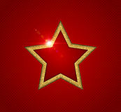 Gold shining star with reflection, christmas greeting card Royalty Free Stock Images