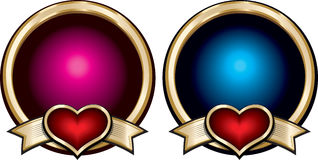 Gold shiny blue and pink badges with red hearts on ribbons. Royalty Free Stock Image