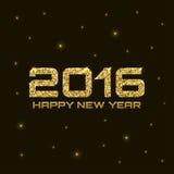 Gold Shiny Bright New Year 2016 Background. Glow vector illustration royalty free illustration