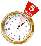 Gold shiny clock. Vector illustration of gold shiny clock Royalty Free Stock Image