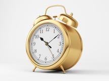 Gold Shiny Clock. On white background Royalty Free Stock Image