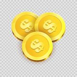 Gold shiny coins with dollar signs isolated illustration Stock Photos
