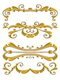 Gold Shiny Flourish Designs. An isolated gold decorative design accent element resembling jewelry Royalty Free Stock Image