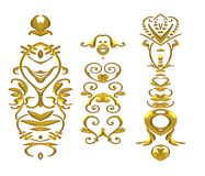 Gold Shiny Flourishes Clip Art Royalty Free Stock Photography