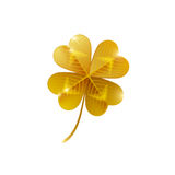 Gold shiny four leaf clover isolated on white Royalty Free Stock Photo