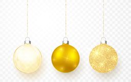 Gold Shiny Glitter Glowing And Transparent Christmas Balls. Xmas Glass Ball On Transparent Background. Holiday Decoration Template Stock Photography