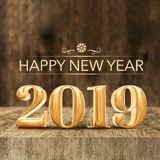Gold shiny Happy New year 2019 3d rendering at wooden block tabl royalty free illustration