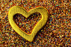 Gold shiny heart Royalty Free Stock Photography