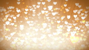 Gold Shiny Hearts Light Valentines Day Background. Dreams set of hearts. Saint Valentines Day greeting video card. Perfect to use in any motion graphics project