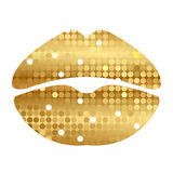 Gold shiny lips Royalty Free Stock Images
