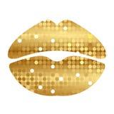 Gold shiny lips. Vector illustration of gold shiny lips Royalty Free Stock Images