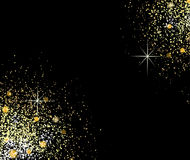 Gold shiny particles shape. Sparkling background. Stardust explosion on black background. Vector festive illustration Royalty Free Stock Photography