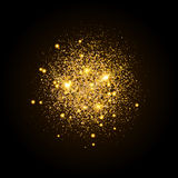 Gold shiny particles shape. Sparkling background. Stardust explosion on black background. Vector festive illustration Stock Photos