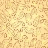 Gold Shiny Seamless Pattern with Leaf Silhouettes Stock Image