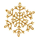 Gold shiny snowflake Stock Images