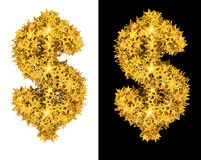 Gold shiny stars dollar sign. Black and white background royalty free illustration