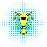 Gold shiny trophy cup award icon, comics style. Gold shiny trophy cup award icon in comics style on a white background Stock Image