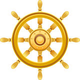 Gold ship wheel Royalty Free Stock Image