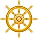 Gold ship wheel. Vector illustration of gold ship wheel Royalty Free Stock Image