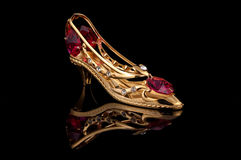 Gold Shoe. Photo of Gold Shoe Royalty Free Stock Photo