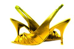 Gold shoe isolated on white Royalty Free Stock Image