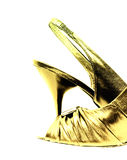 Gold shoe isolated on white Royalty Free Stock Photos