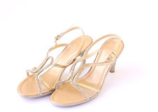 Gold shoes. Gold female buckle up sandles isolated on a white background Royalty Free Stock Photos