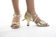 Gold shoes dancer Royalty Free Stock Photography
