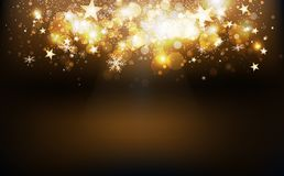 Gold shooting stars burst confetti falling holiday season, snowflakes and dust glowing blur magic fantasy on stage celebration. Festival abstract background vector illustration