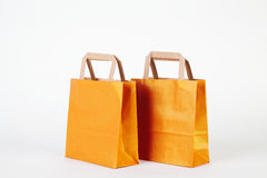 Gold shopping bags Stock Photo