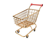 Gold shopping cart Royalty Free Stock Images