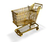 Gold shopping cart isolated on white background, luxury symbol. Royalty Free Stock Images