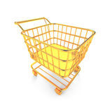 Gold shopping cart Royalty Free Stock Photography