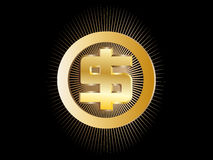 Gold sign on the American dollar Stock Photography