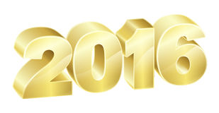 2016 Gold Sign. 2016 in 3D gold text. New Years concept or relating to anything exciting in 2016 Royalty Free Stock Photography
