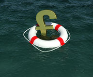 Gold sign of the English pound in lifebuoy Stock Images