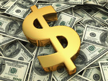 Gold sign on a hundred dollars bill Stock Photo