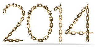 Gold Sign 2014. Sign 2014, made with gold chains Royalty Free Stock Images