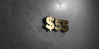 $55 - Gold sign mounted on glossy marble wall  - 3D rendered royalty free stock illustration Royalty Free Stock Photos