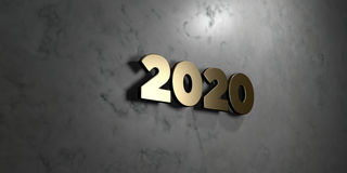 2020 - Gold sign mounted on glossy marble wall  - 3D rendered royalty free stock illustration. This image can be used for an online website banner ad or a Royalty Free Stock Photos