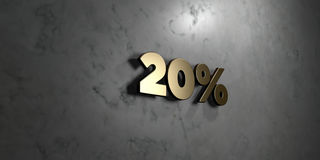 20% - Gold sign mounted on glossy marble wall  - 3D rendered royalty free stock illustration. This image can be used for an online website banner ad or a print Stock Images